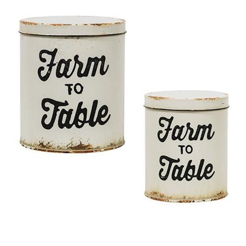 Set of 2 Farm to Table Distressed Canisters