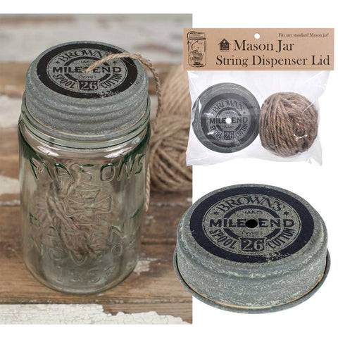 Mile End Mason Jar String Dispenser Lid With String (lid only)