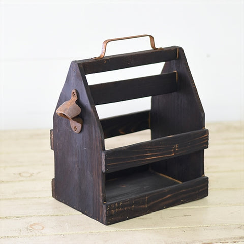"Wood Bottle Caddy with Rustic Bottle Opener 11"" H"