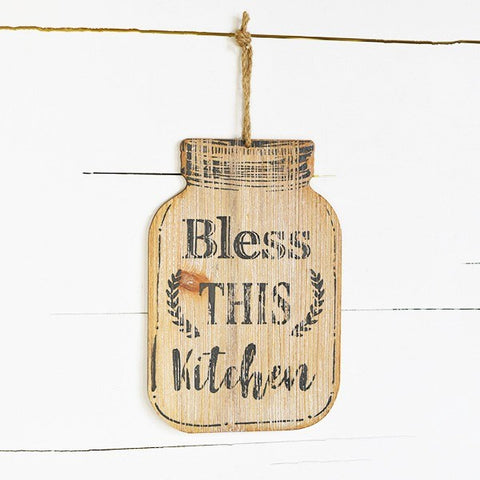Bless This Kitchen Mason Jar Shaped Wooden Sign