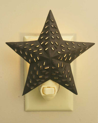Rustic Brown Punched Star Night Light