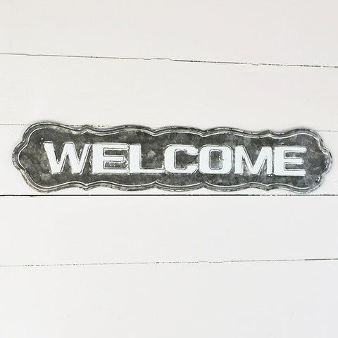 "Galvanized Tin Welcome 28"" Sign"