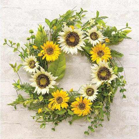 "Summer Summit Yellow and Cream 24"" Faux Floral Wreath"