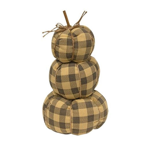 Gray Buffalo Check Pumpkin Stack