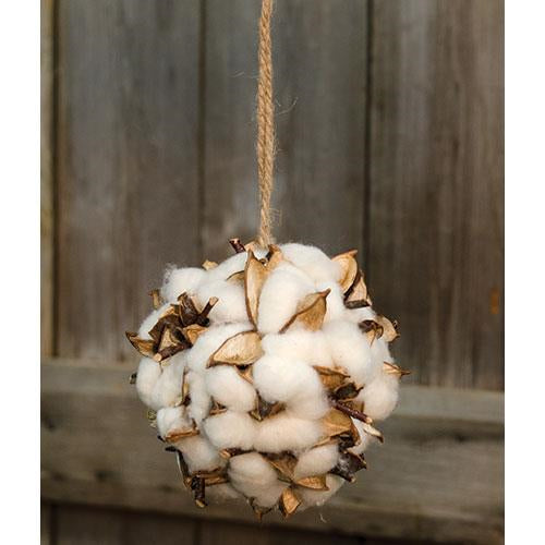 "Farmhouse Cotton & Pods 5"" Hanging Ball"