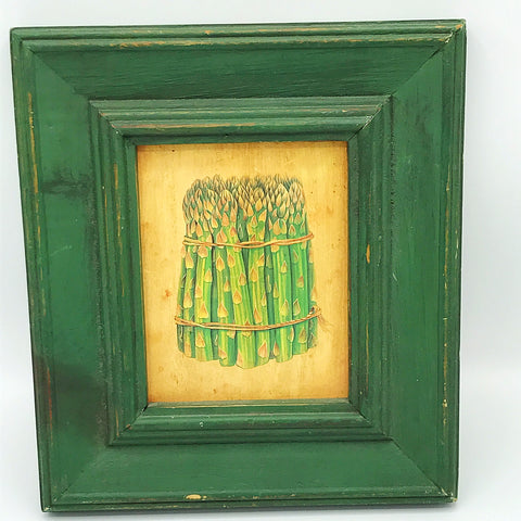 Asparagus Drawing Distressed Green Framed Wall Artwork