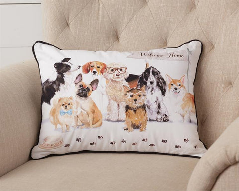 Playful Pups Welcome Home Pillow