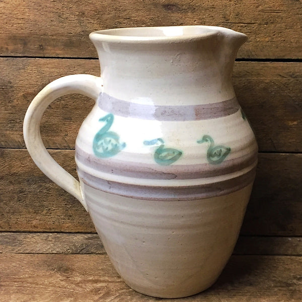 Pottery Pitcher with Duck Pattern