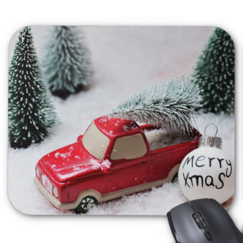 Christmas Mousepad - Vintage Red Truck with Tree - Mouse Pad