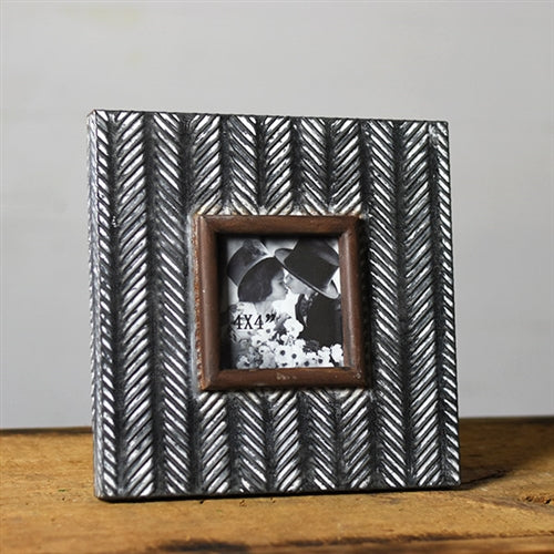 "Arrowhead Pressed Tin Square Picture Frame holds 4"" x 4"" photo"
