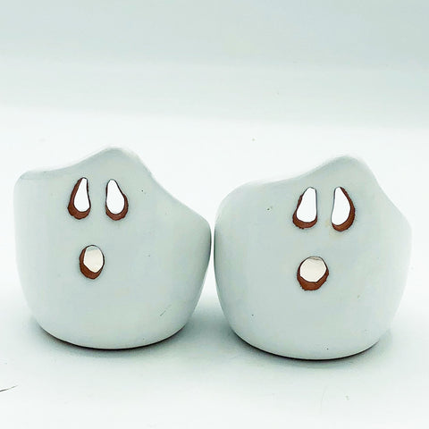 Set of 2 White Glazed Ghost Halloween TeaLight Holders