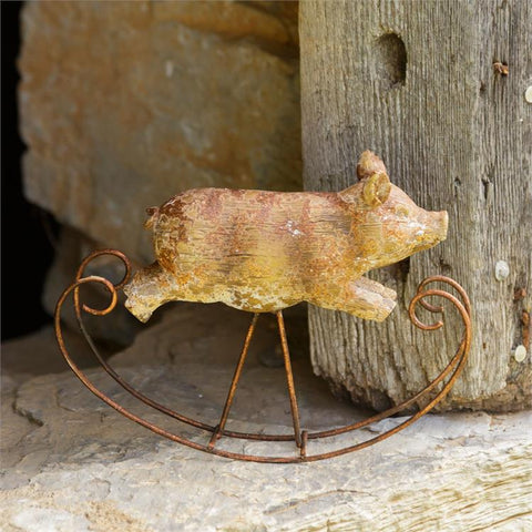 Rustic Rocking Pig Figure