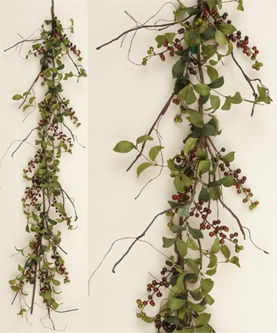 Natural Herb Leaves with Blueberries 5 ft Garland