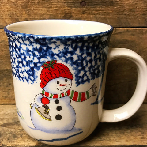 Thomson Pottery Snowman Winter Mug - spongeware
