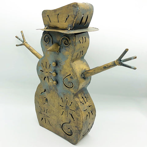 Rustic Snowmen Tin Tealight Holder Luminary