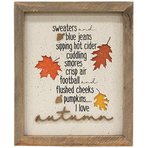 I Love Autumn Sweaters Framed Sign