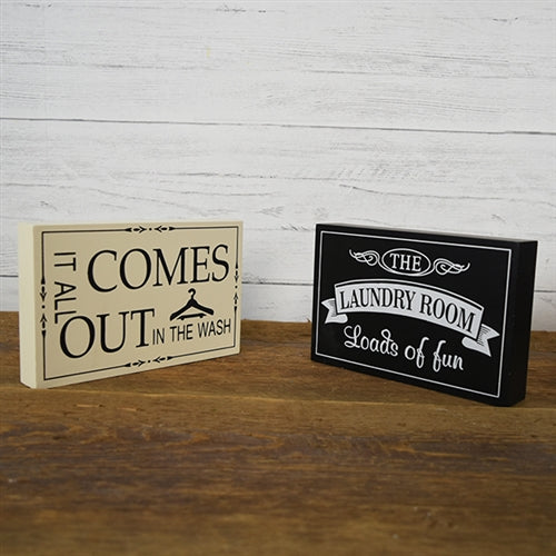 Set of 2 Laundry Wood Block Signs - It All Comes Out in the Wash & Loads of Fun