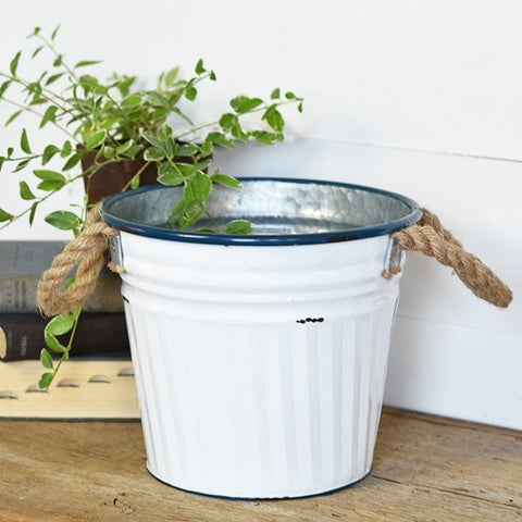 "Coastal White 9"" Tin Planter with Jute Handles"