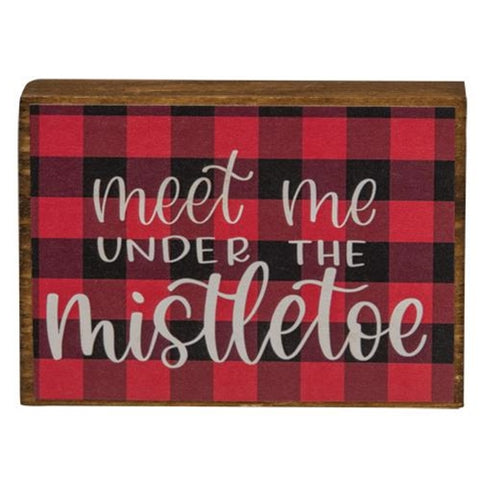 Meet Me Under the Mistletoe Buffalo Check Mini Block Sign