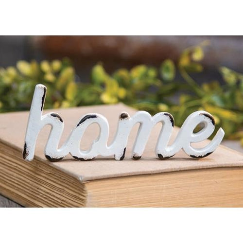 Home Cut Out Script Distressed White Resin Figure
