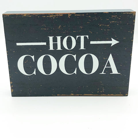 Hot Cocoa Distressed Wooden Block Sign