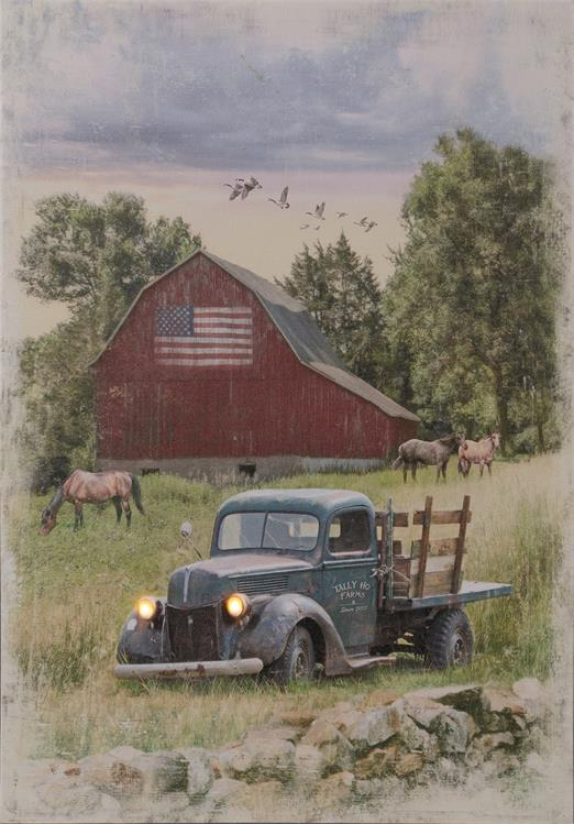 Rustic Truck and Barn Canvas Light Up LED Wall Picture