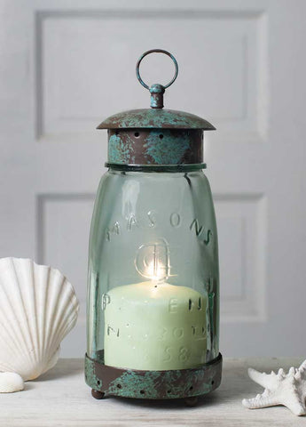 Rustic Farmhouse Quart Mason Jar Lantern + Bonus Candle!
