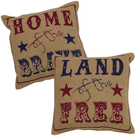 Set of 2 Land of the Free and Home of the Brave Burlap Pillows
