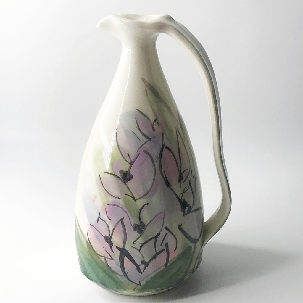 "Pink Blossoms Pottery 8"" Tall Vase Pitcher"