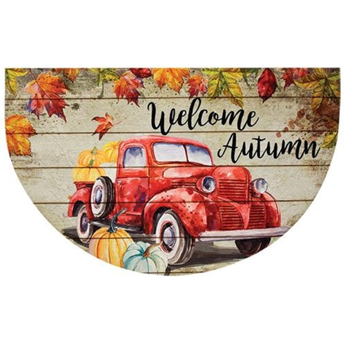 Red Truck Autumn Welcome Mat
