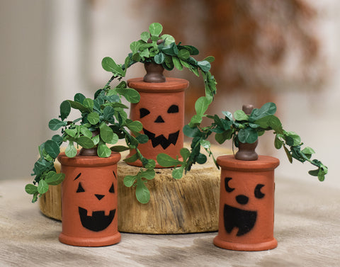 Set of 3 Jack O' Lantern Wooden Spools