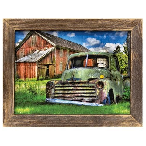 Days Gone By Green Truck and Barn Framed Print