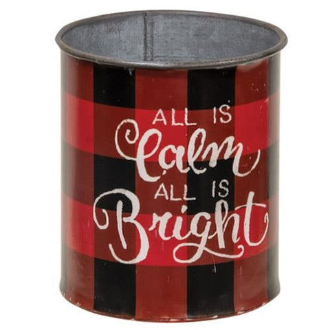 Calm and Bright Christmas Buffalo Plaid Lil' Bucket