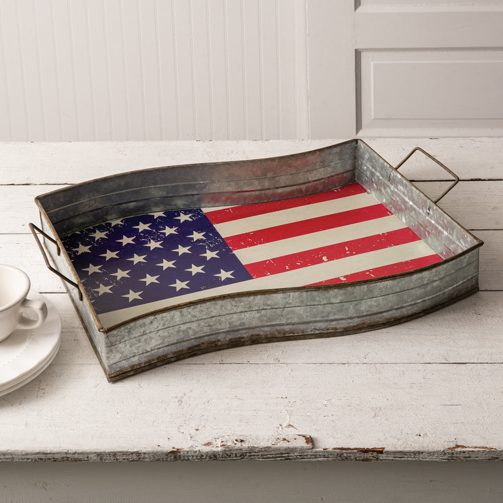 American Flag Galvanized Metal Serving Tray