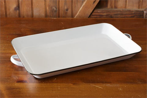 White with Black Trim Enamelware Tray