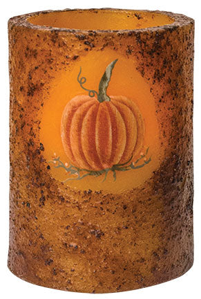 Pumpkin Grungy Pillar Candle with Battery Timer Light