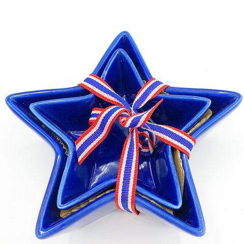 Set of Two Nested Blue Star Shaped Americana Treat Bowls