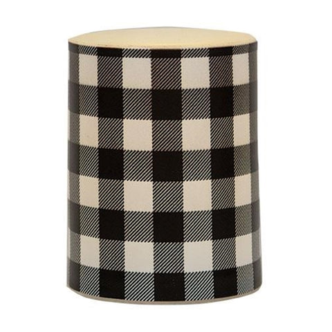 "Black Buffalo Check Timer 4"" Pillar Candle"