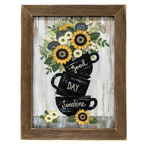 Good Day Sunshine Sunflower Cups Framed Print