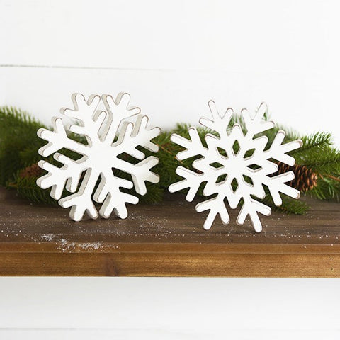 "Set of 2 Wooden 7"" Snowflakes"