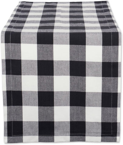 "Buffalo Plaid Black and White Table Runner 72"" long"
