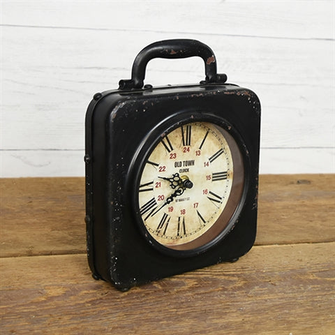 Table Top Vintage Style Square Handled Clock