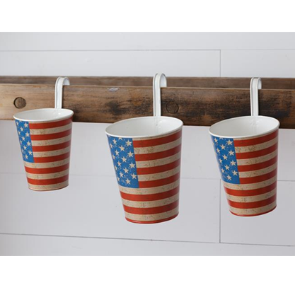 Set of 3 American Flag Hanging Planters