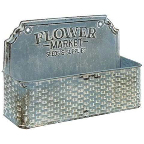 Distressed Blue Flower Market Metal Basket