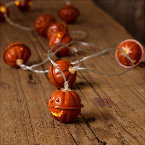 "Jack O' Lantern Tin Halloween Strand of Lights 65"" long"
