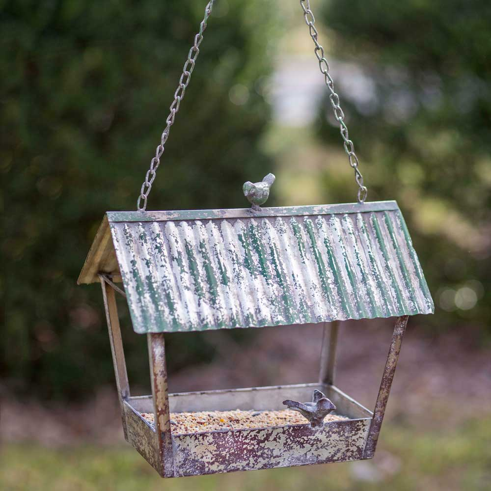 Rustic Tin Longhouse Bird Feeder with Bird Accents