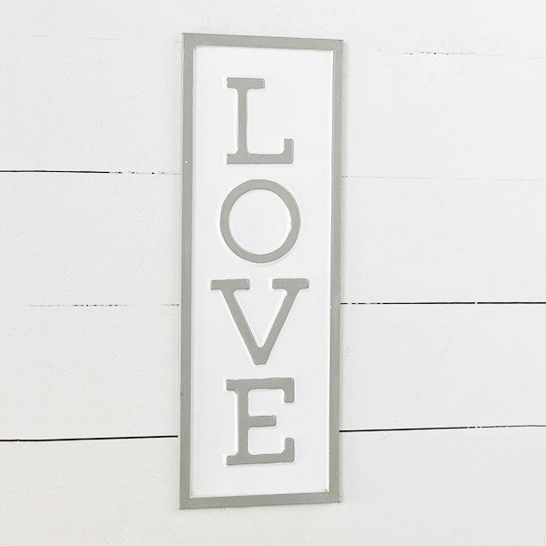 "LOVE Vertical 20"" Tin Sign"