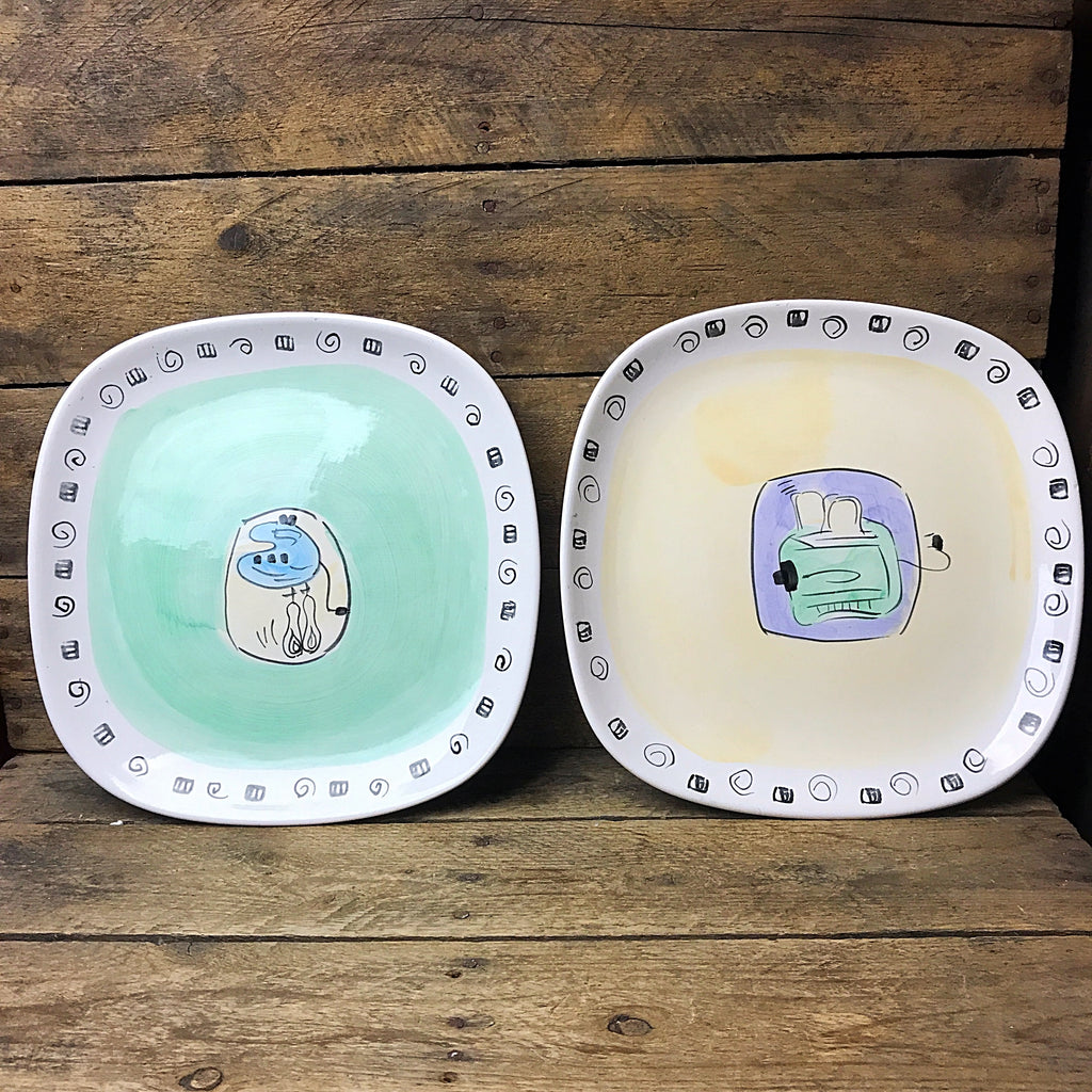 Hausenware Set of Two Square Plates - Toaster and Hand Mixer Design