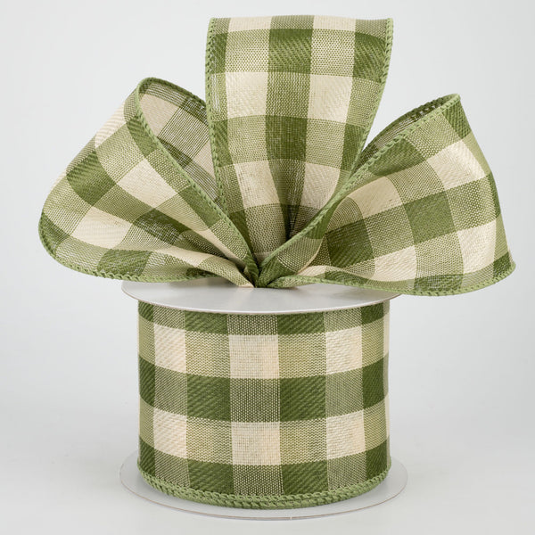 "Moss and Ivory Linen Check Plaid Ribbon 2.5"" x 10 yards"