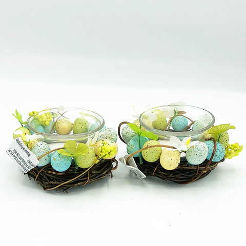 Set of 2 Pier 1 Imports Mini Eggs and Blooms Tealight Holders